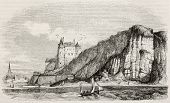 Chateau de Dieppe (Dieppe castle) old view from the sea. Created by Brisseau, published on Magasin Pittoresque, Paris, 1845