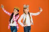 Spoiled Children Concept. Egocentric Princess. Kids Wear Golden Crowns Symbol Princess. Warning Sign poster