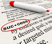 The word Success and its definition circled in a dictionary, defined to convey the meaning of a succ