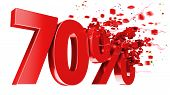 Explosive 70 Percent Off On White Background