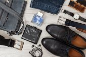 Shoulder Bag, Pair Of Black Leather Mens Shoes, Belts For Men, Jeans And Accessories. poster