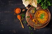 Indian Dal. Food. Traditional Indian Soup Lentils.  Indian Dhal Spicy Curry In Bowl, Spices, Herbs,  poster
