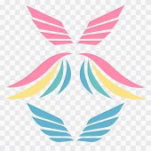 Wings Emblem Elements. Angels And Birds Winged Labels. Bird Wings Vector Logo. Vector Angel Winged L poster