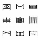Types Of Fence Icons Set. Simple Set Of 9 Types Of Fence Icons For Web Isolated On White Background poster