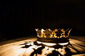 The Crown On A Black Background Is Highlighted By A Golden Ray. Game Of Thrones. poster