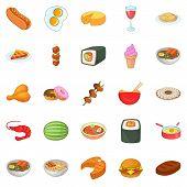 Dinner Break Icons Set. Cartoon Set Of 25 Dinner Break Icons For Web Isolated On White Background poster