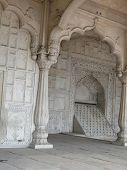 picture of khas  - Carved columns and arches of the Hall of Private Audience or Diwan I Khas at the Lal Qila or Red Fort in Delhi India - JPG