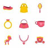 Princess Accessories Icon Set. Flat Style Set Of 9 Princess Accessories Icons For Web Isolated On Wh poster