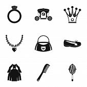 Princess Things Icon Set. Simple Style Set Of 9 Princess Things Icons For Web Isolated On White Back poster