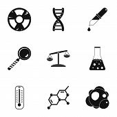 Chemical Laboratory Icon Set. Simple Style Set Of 9 Chemical Laboratory Icons For Web Isolated On Wh poster