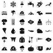 Rainy Cloud Icons Set. Simple Style Of 36 Rainy Cloud Icons For Web Isolated On White Background poster