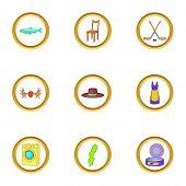 Scandinavia Icons Set. Cartoon Illustration Of 9 Scandinavia Icons For Web Design poster