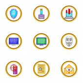 Firewall Icons Set. Cartoon Illustration Of 9 Firewall Icons For Web Design poster