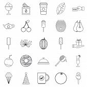 Delicious Dessert Icons Set. Outline Set Of 25 Delicious Dessert Icons For Web Isolated On White Bac poster