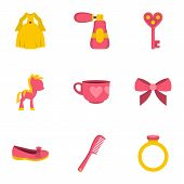 Little Princess Icon Set. Flat Style Set Of 9 Little Princess Icons For Web Isolated On White Backgr poster