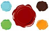 5 color vector wax seal on white background