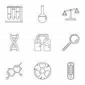 Chemical Experience Icon Set. Outline Style Set Of 9 Chemical Experience Icons For Web Isolated On W poster