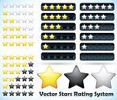 Sterne-Rating-System. Vektor-Illustration der ein Bewertungssystem, das auf der Grundlage von Sternen ein bis fünf in variou