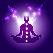 Human Body In Yoga Lotus Asana And Seven Chakras Symbols On Dark Blue Purple Starry Background With  poster