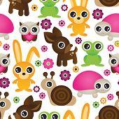 seamless set animal kids pattern background in vector