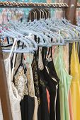 Attractive And Seductive Lingerie On A Hanger In A Womens Clothing Store. Womens Lace Lingerie On A  poster