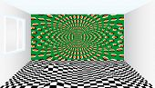 Room Of Illusions. Room With Optical Illusion. Outstanding Art Ideas Inspired By Optical Illusions.  poster