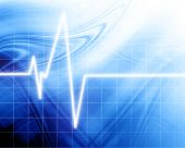 image of blue-screen-of-death  - Heart beat on clinic monitor on a blue background - JPG