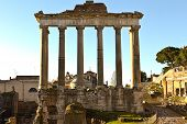 Temple of Saturn ruins at Forum Romanum