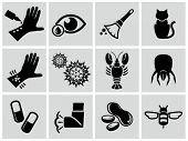 stock photo of mites  - Vector black allergies icons set - JPG