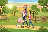 Happy Family Walking In City Park Cartoon Vector. Mother Strolling With Pink Baby Carriage, Father R poster