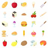 Kitchen Appliances Icons Set. Cartoon Set Of 25 Kitchen Appliances Icons For Web Isolated On White B poster