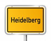 City limit sign HEIDELBERG against white background - federal state of Baden Wuerttemberg