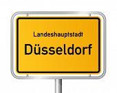 City limit sign DUSSELDORF / DÃ?SSELDORF against white background - federal state of North Rhine Westphalia / Nordrhein Westfalen