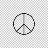 Peace Sign Icon Isolated On Transparent Background. Hippie Symbol Of Peace. Flat Design. Vector Illu poster