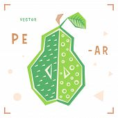 Cartoon Pear Vector. Cartoon Pear Isolated Vector Illustration For Package, Menu, Label, Advertise.  poster
