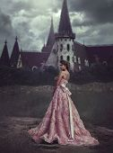 Beautiful Princess In Pink Dress On The Background Of Majestic Castle. Blonde With Long Hair Is On T poster