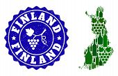 Vector Collage Of Wine Map Of Finland And Grape Grunge Seal. Map Of Finland Collage Composed With Bo poster