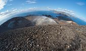 Fisheye view of volcano crater on Aeolian islands