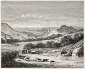 Farmers coming back from market, old illustration. Puy-en-Velay surroundings, France. Created by Thu