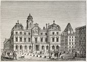 Hotel de Ville de Lyon (city hall). Created by Best and Leloir, published on Magasin Pittoresque, Pa