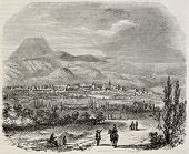 Clermont-Ferrand old view, France. Created by Brugnot, published on Magasin Pittoresque, Paris, 1845