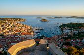 Panoramic View Of Hvar Town In Croatia. Hvar Town Is The Famous Town For Summer Beach Vacation On Hv poster