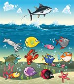 Family of funny fish under the sea. Vector isolated characters.