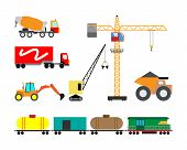 Set Of Heavy Construction Machines Icons. Vector Illustration Of Heavy Equipment And Machinery. poster