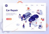 Car Repair Service, Auto Diagnostic, Maintenance Station Isometric Vector Web Banner. Skilled Automo poster