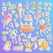 Brave Tomboy Hell Princess Vector Cartoon Set. Princess Magic And Feminism Illustration, Little Teen poster