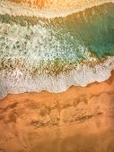 Beautiful panoramic birds eye view on ocean waves, Fuerteventura island. Aerial shooting seascape co poster