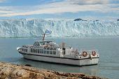 Argentine Excursion Ship Near The Perito Moreno Glacier In Patagonia, Argentina
