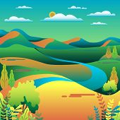 Hills And Mountains Landscape In Flat Style Design. Valley Background. Beautiful Green Fields, Meado poster