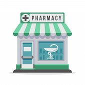 Vector Pharmacy City Building Exterior Front View. Isolated Flat Vector Illustration. Pharmacy Build poster